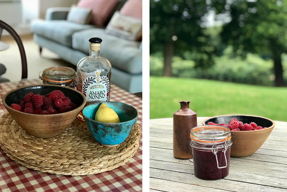 summer_Tayberries_bowl_lemon_inside_holiday_cottage_amaro_nonino_view_outside_holiday_cottage_river_tweed