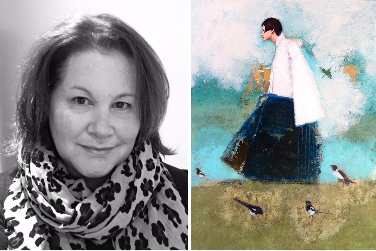 Milne-Graden-notebook-Frances-Borders-Art-Fair-Director-white-Fox-Gallery-portait-woman-walking