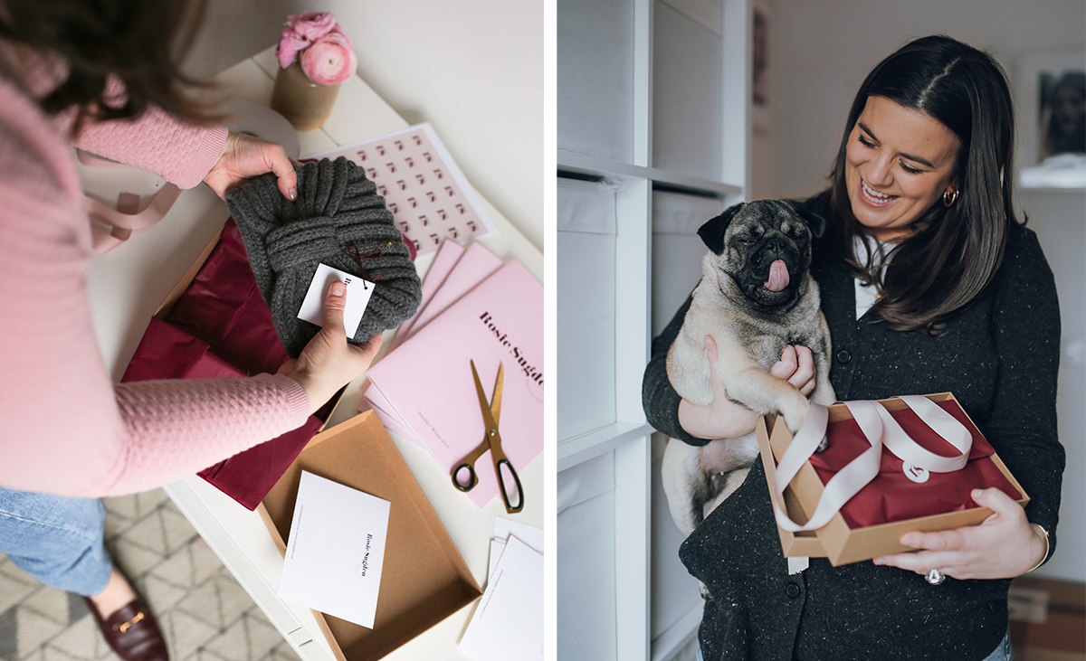 Rosie-Sugden-with-her-pug-dog-and-gift-box-alongside-Rosie-boxing-up-customer-orders