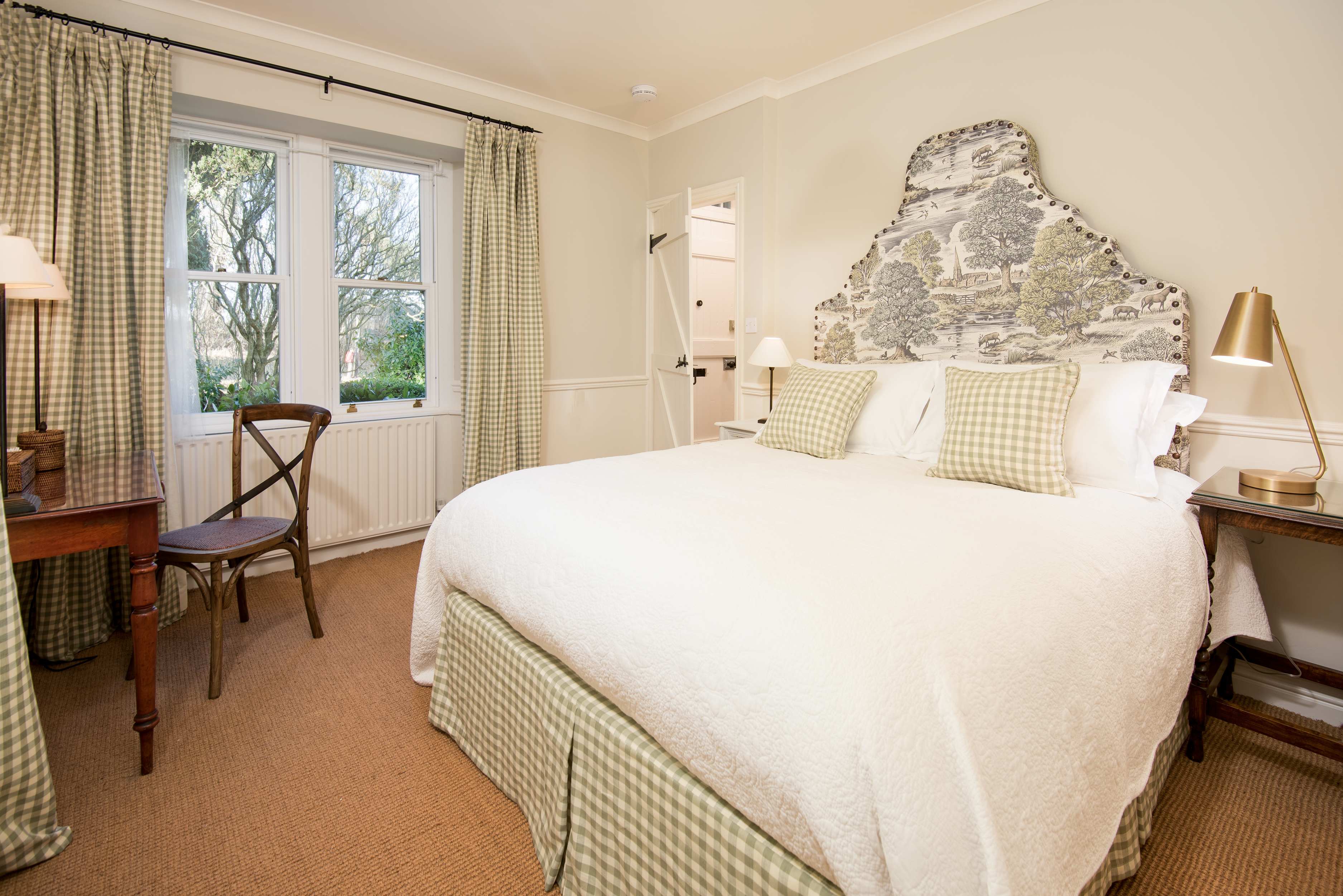 Milne Graden Magic holiday cottage North Lodge Bedroom Bespoke Fabric Headboard British Illustrator Andrew Davidson