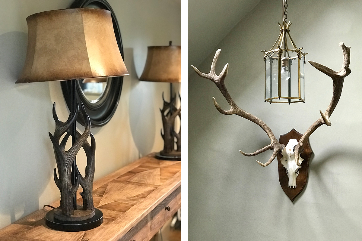 Milne-Graden-School-House-Holiday-Cottage-Antlers-lamps-mounted-stags-antlers
