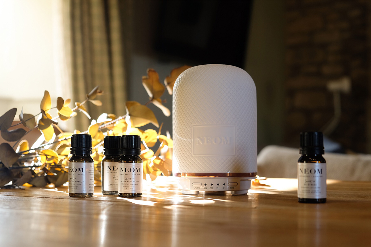 Milne-Graden-Neom-Wellness-Pod-in-School-House-Holiday-Cottage-with-essential-oils-and-eucalyptus-in-background