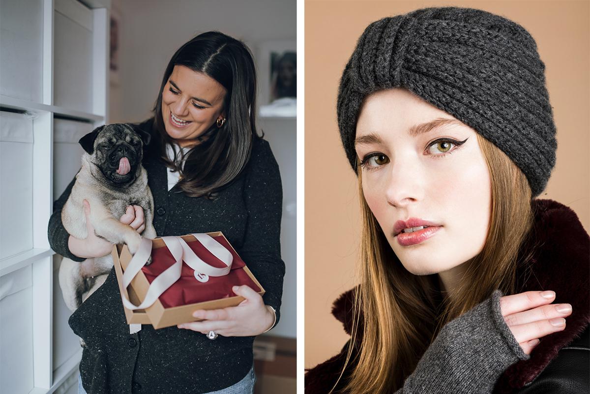 Milne-Graden-Press-Rosie-Sugden-Cashmere-Rosie-with-plastic-free_Packaging-pug-dog-alongside-grey-Turban