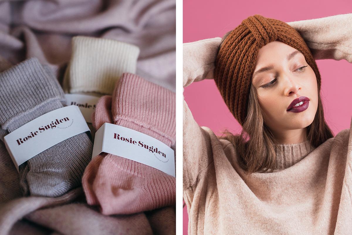 Milne-Graden-Press-Rosie-Sugden-Cashmere-Socks-alongside-Earwarmer-in-rust