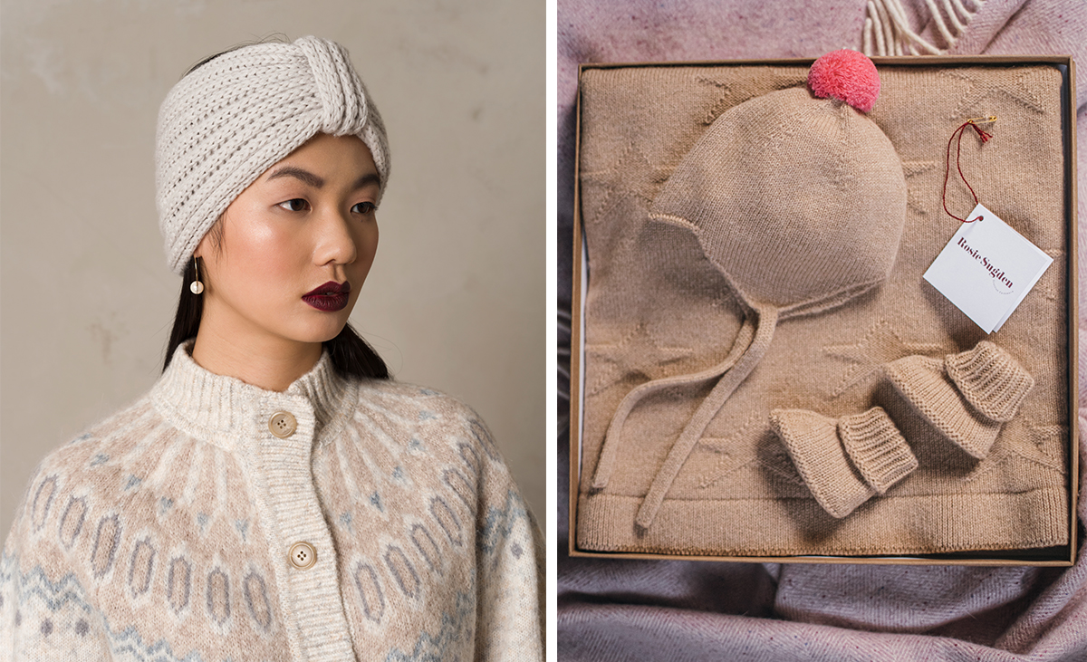 Rosie Sugden cashmere ear warmer in cream colour alongside boxed cashmere baby booties hat and blanket in neutral shade